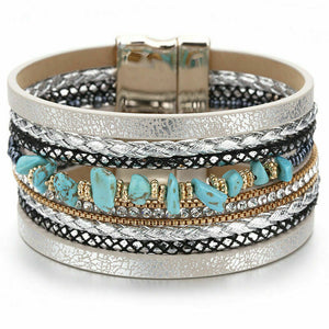 Layered Silver Grey leather Crystal Turquoise Magnetic Bracelet