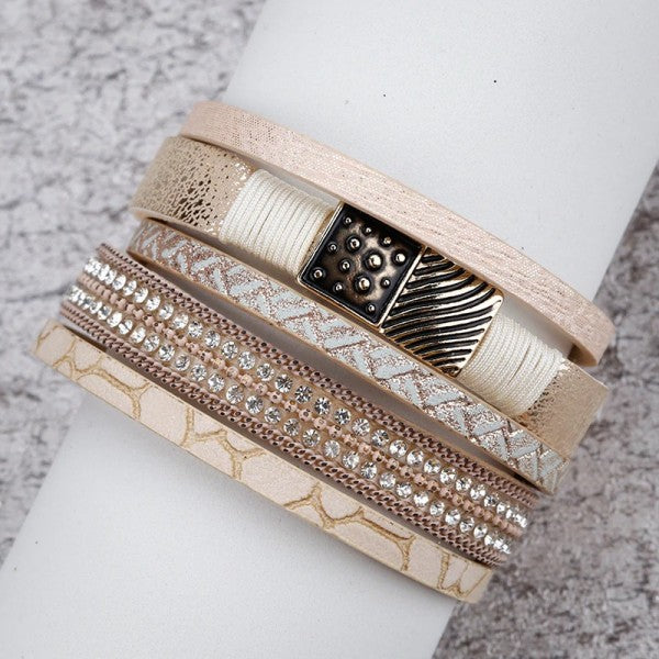 Layered Gold Beige leather Chain Crystal Magnetic Bracelet