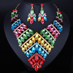 LUXE Gorgeous Gold Multi Vibrant Crystal Cocktail Necklace Set