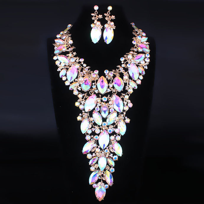 COUTURE Statement Gold AB Crystal Bib Cocktail Necklace Set