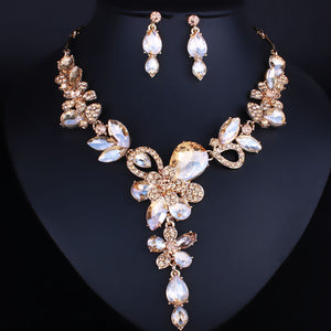 Gold Champagne Crystal Cocktail Necklace Set