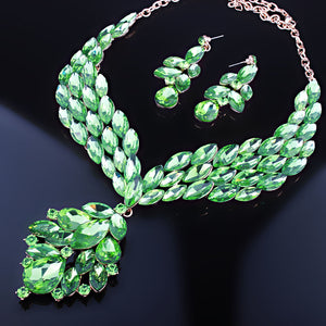 LUXE Statement Gold Green Peridot Crystal Cocktail Necklace Set