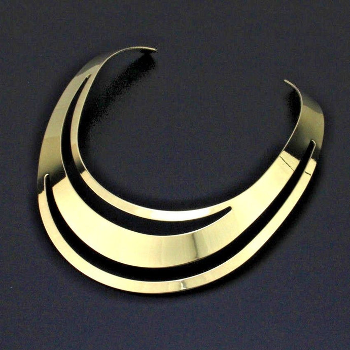 Celeb Statement Super Shine Gold Open Cuff Collar Necklace