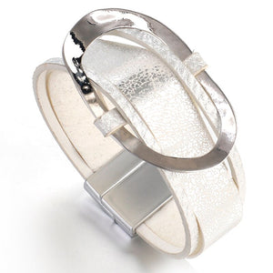 ELEGANT Silver leather Crystal Magnetic Fastening Bracelet