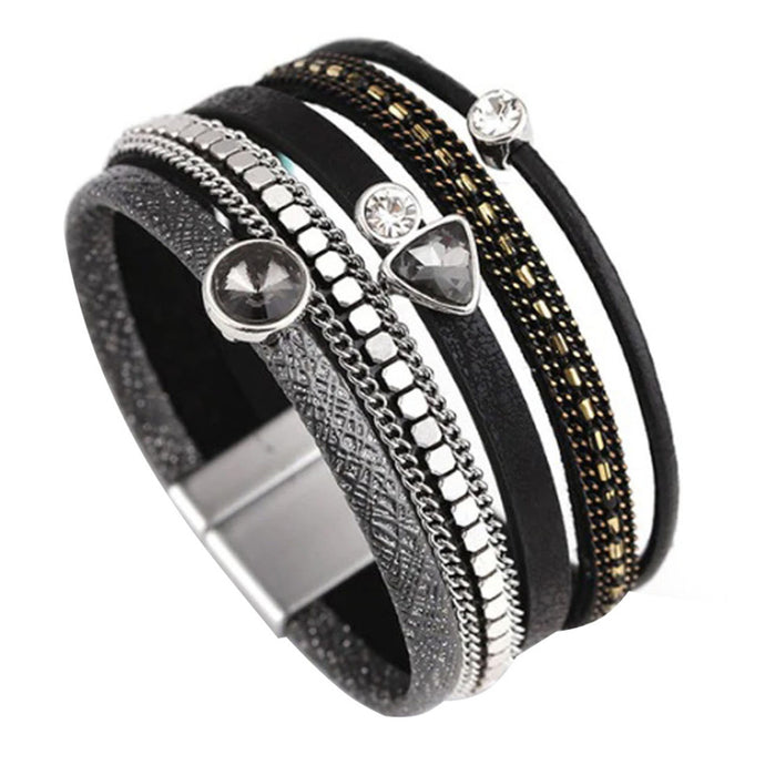 Layered Silver Grey leather Black Crystal Magnetic Bracelet