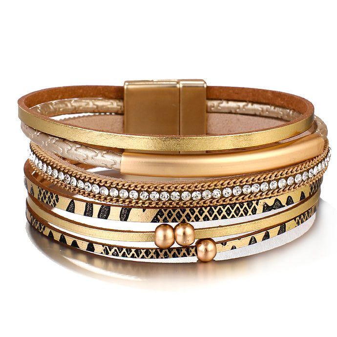 Layered Gold leather Chain Snake Crystal Magnetic Bracelet