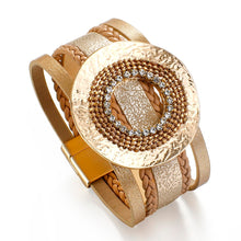 Layered Gold Champagne leather Crystal Charm Magnetic Bracelet