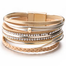 Layered Gold leather Braided Crystal Magnetic Fastening Bracelet