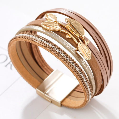 Layered Gold Champagne leather Leaf Chain Magnetic Bracelet