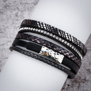 Layered Silver Black leather Chain Crystal Magnetic Bracelet