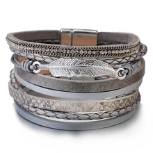 Layered Silver Grey leather Crystal Leaf Charm Magnetic Bracelet