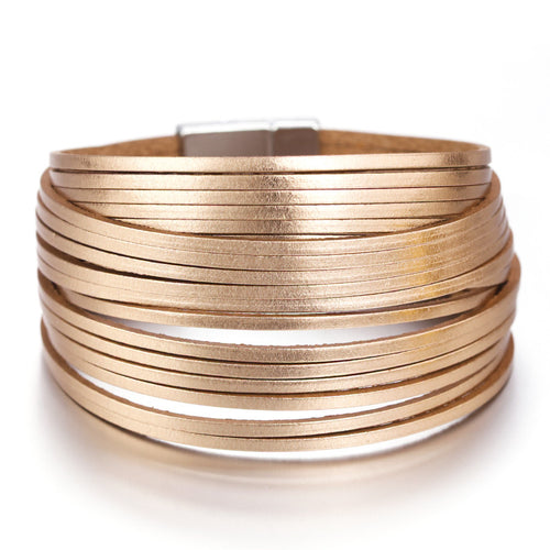 Layered Rose Gold Super Shine leather Magnetic Fastening Bracelet