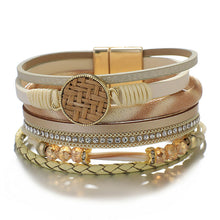 Layered Tri Colour Gold Silver leather Crystal Magnetic Bracelet