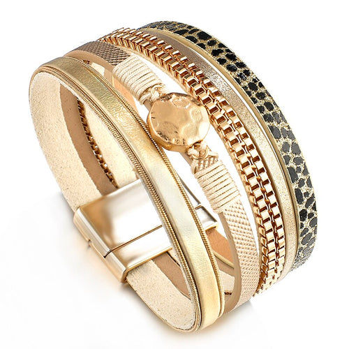 Layered Gold Champagne leather Chain Snake Magnetic Bracelet