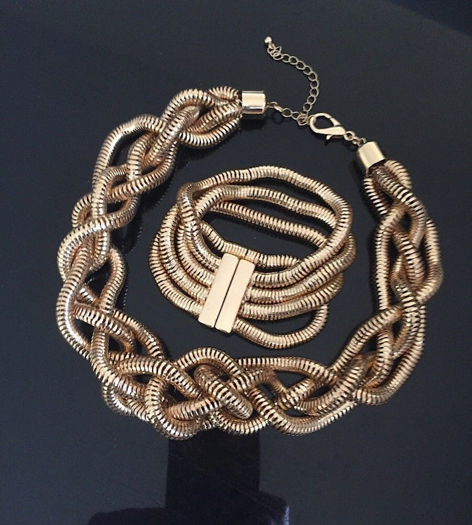 Statement Gold 4 Layer Snake Chain Plaited Collar Necklace, Bracelet Set