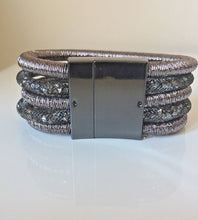 Metallic Black Diamond Crystal Collar Necklace & Bracelet Set