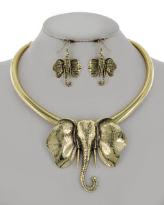 Statement Elephant Animal Antique Gold Collar Necklace Set