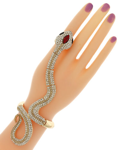 EXOTIC Gold Snake Crystal Bracelet Hand Chain Stretch ring