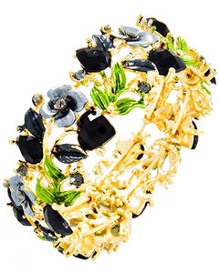 Gold  Black Crystal Leaf Bangle Cuff