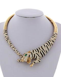 LUXE STATEMENT Gold Animal Tiger Crystal Magnetic Cuff Necklace