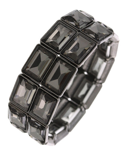 STATEMENT Black Diamond Crystal Stretch Cocktail Bracelet