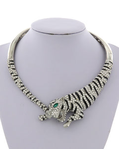 LUXE STATEMENT Silver Animal Tiger Crystal Magnetic Cuff Necklace