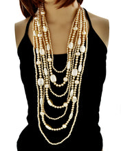 FABULOUS Statement Gold Cream Pearl Layered Long Necklace Set