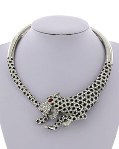 LUXE Statement Silver Black Red Animal Tiger Crystal Necklace