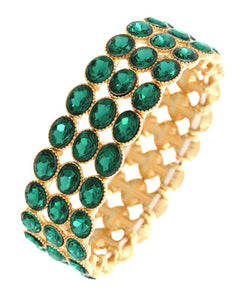 Gold Green Vibrant Emerald Crystal Stretch Cocktail Bracelet