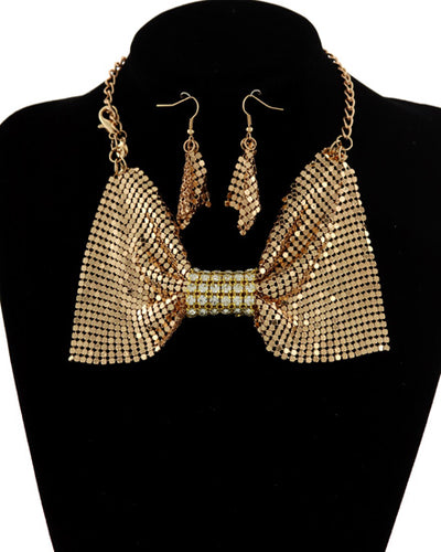STATEMENT Gold Crystal 2 Way Bow Choker Necklace / Bracelet Set