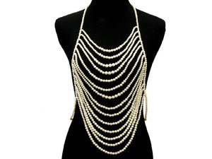 Statement Gold Pearl Necklace Body Chain
