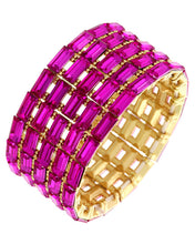 WHIMSICAL Gold Vibrant Fuchsia Crystal Stretch Cocktail Bracelet