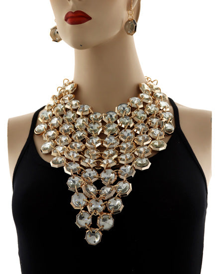 SPECTACULAR Statement Gold Clear Crystal Big Choker Necklace Set