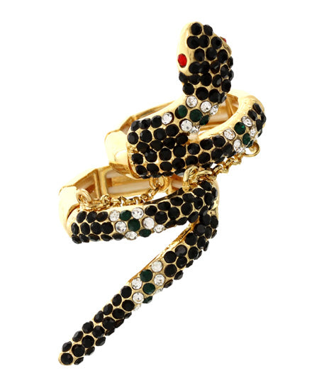 FABULOUS Gold Black Jet Crystal Snake Stretch Cocktail Ring