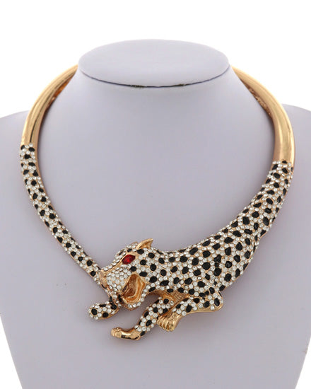 LUXE STATEMENT Gold Black Red Animal Tiger Crystal Necklace