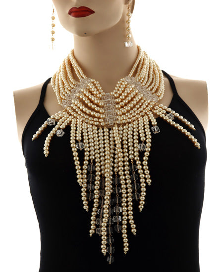 SPECTACULAR Statement Gold Cream Pearl Lucite Collar Necklace Set