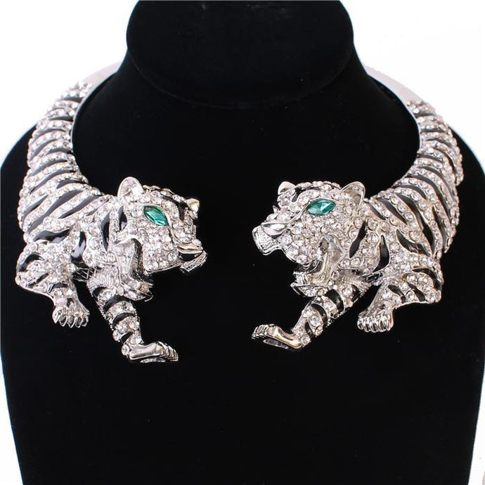 STATEMENT Silver Black Green Animal Tiger Crystal Open Necklace