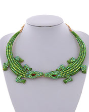 STATEMENT Gold Green AB Crocodile Alligator Crystal Necklace