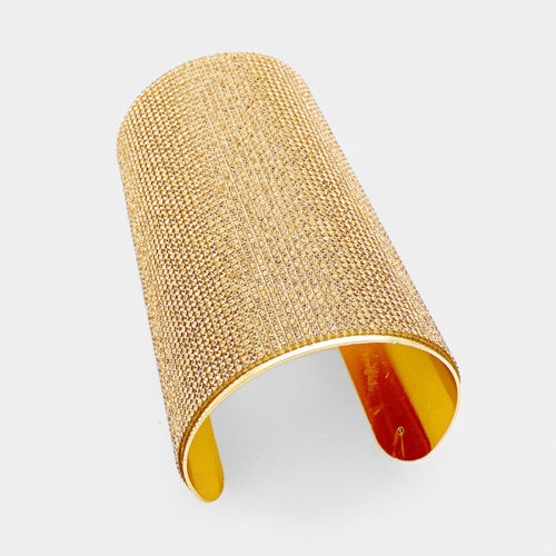 Over Sized Gold Colorado Topaz Crystal Cuff Bangle