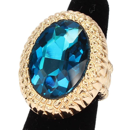 Big Gold Blue Zircon Crystal Stretch Cocktail Ring