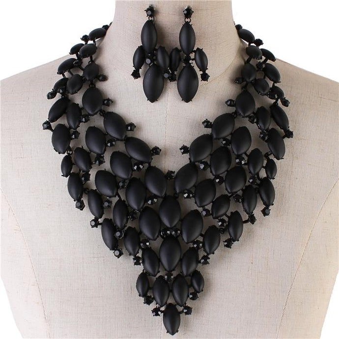 LUXE Black Frosted Jet Crystal Couture Cocktail Necklace Set