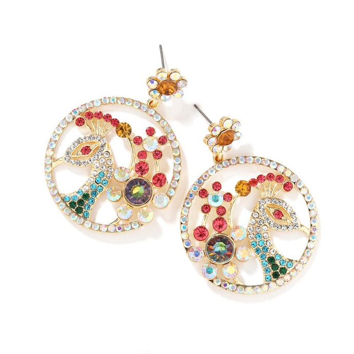 Statement Gold AB Multi Crystal Big Circle Peacock Earrings