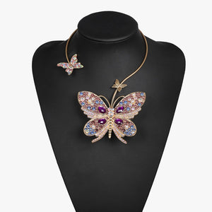 Statement Butterfly Crystal Open Choker Collar Cocktail Necklace