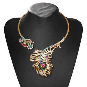 Statement Peacock Crystal Open Choker Collar Cocktail Necklace