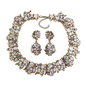 LUXE Vintage Gold AB Crystal Collar Bib Cocktail Necklace Set
