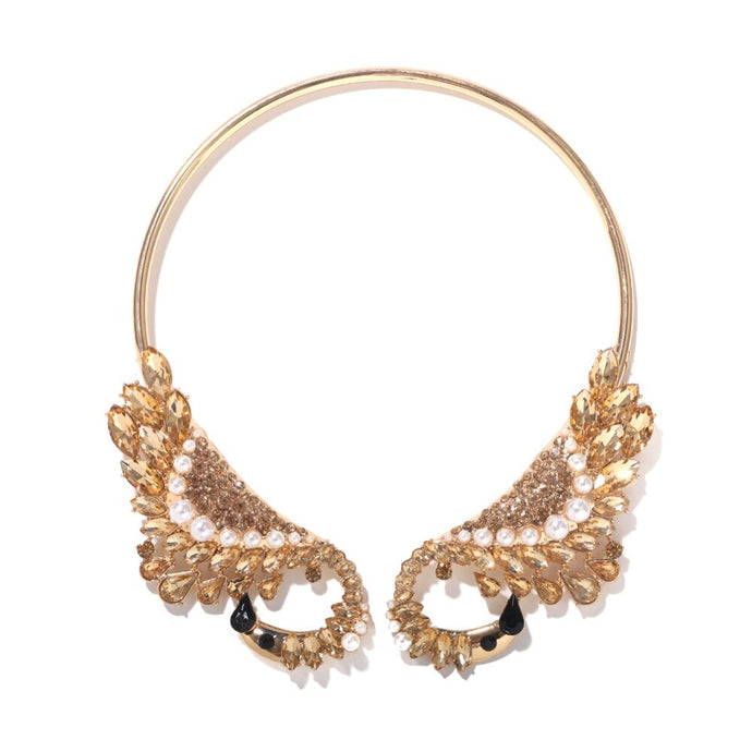 Statement Swan Topaz Crystal Open Collar Cocktail Necklace