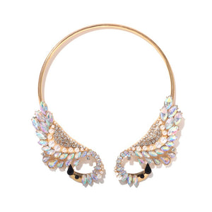 Statement AB Swan Crystal Open Choker Collar Cocktail Necklace