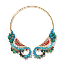 Statement Blue Swan Crystal Open Choker Collar Cocktail Necklace