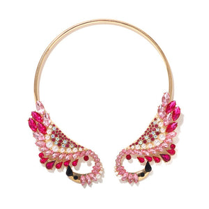 Statement Pink Swan Crystal Open Choker Collar Cocktail Necklace