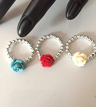 Understated Silver 925 Tiny Rose Stretch Ring Red, Cream, Turquoise